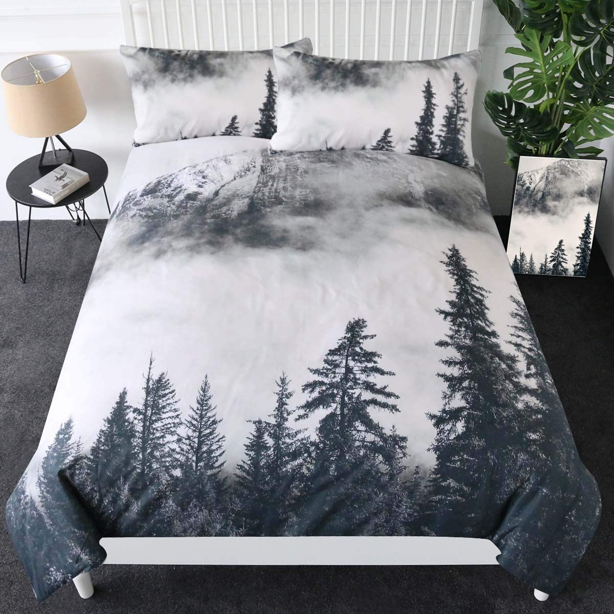Sleepwish Smoky Mountain Bedding online shopping Forest Pieces Max 86% OFF Duvet Cover Gre 3