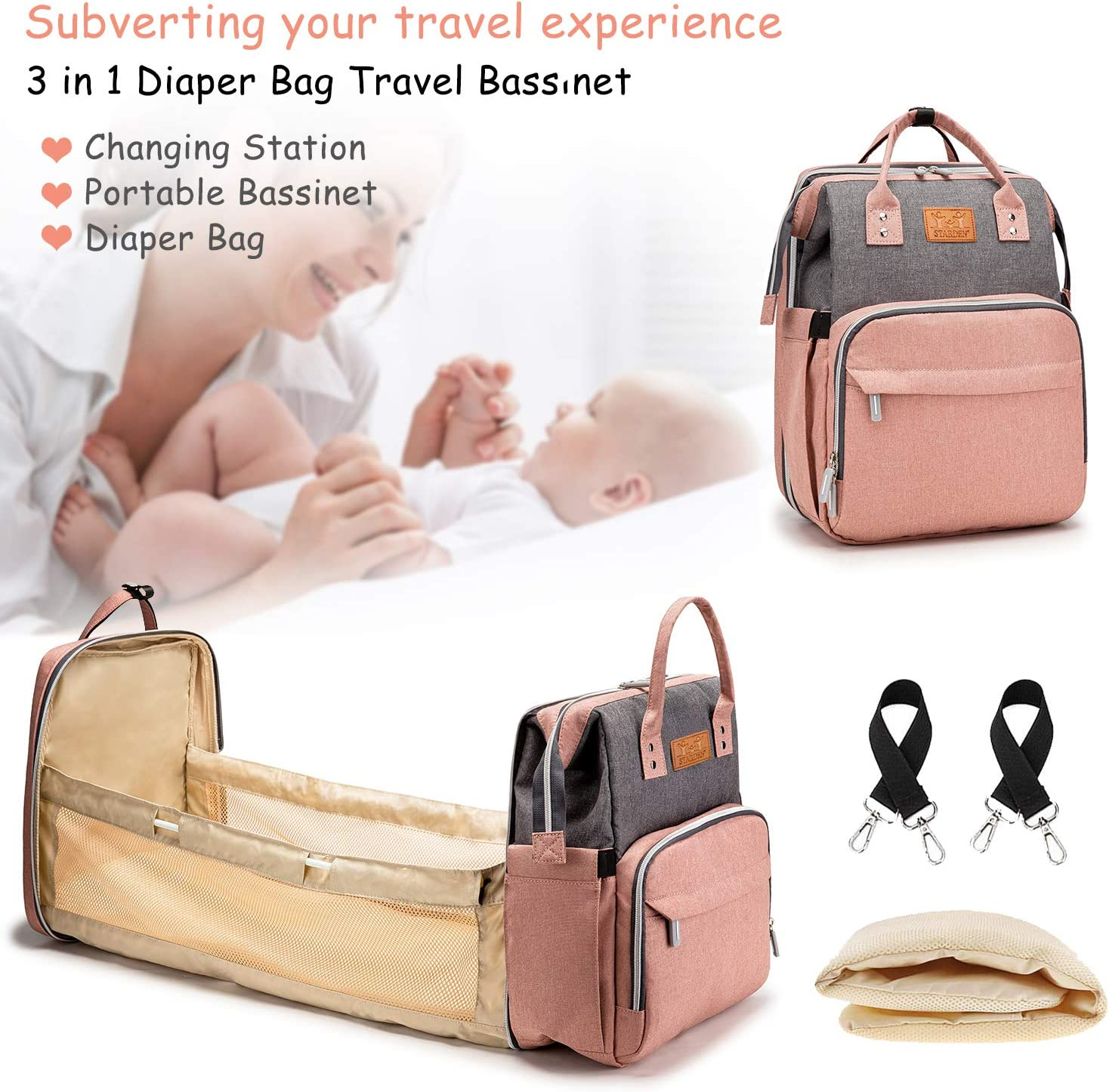 Diaper Bag Backpack with Foldable Baby Changing Station, Nappy Bag Backpack with Baby Bassinet for Travel Outdoor(Graypink)
