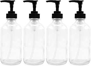 8oz Clear Glass Boston Round Pump Bottles Great as Glass Essential Oil Bottles Glass Lotion Bottles Glass Soap Bottles and...