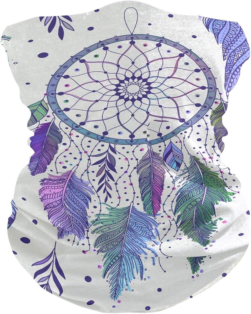 Face Mask Neck Gaiter Bandana Balaclava, Dreamcatchers And Feathers Face Sun Dust Mask Magic Scarf Headwear for Running Fishing Outdoor Sport