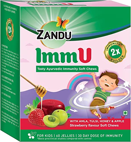 Zandu ImmU Tasty Ayurvedic Soft Chews for Kids Immunity Booster for Children Rich in goodness of Amla Tulsi Apple and Honey Strawberry Flavour 60 Jellies