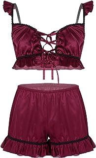 MuFeng Men's 2 Piece Satin Lingerie Set Lace-up Front Ruffles Bra Tops Sissy Pouch Panties Nightwear