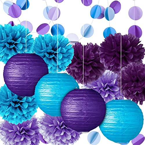 buy popular 2572a 4d53a Fadesun Party Decoration Kit Purple Blue Tissue Paper Pom Poms Flowers  Papers Lanterns Circle Garland Birthday