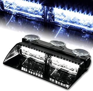 WoneNice 16 LED High Intensity LED Law Enforcement Emergency Hazard Warning Strobe Lights 18 Modes for Interior Roof/Dash/Windshield with Suction Cups (White)