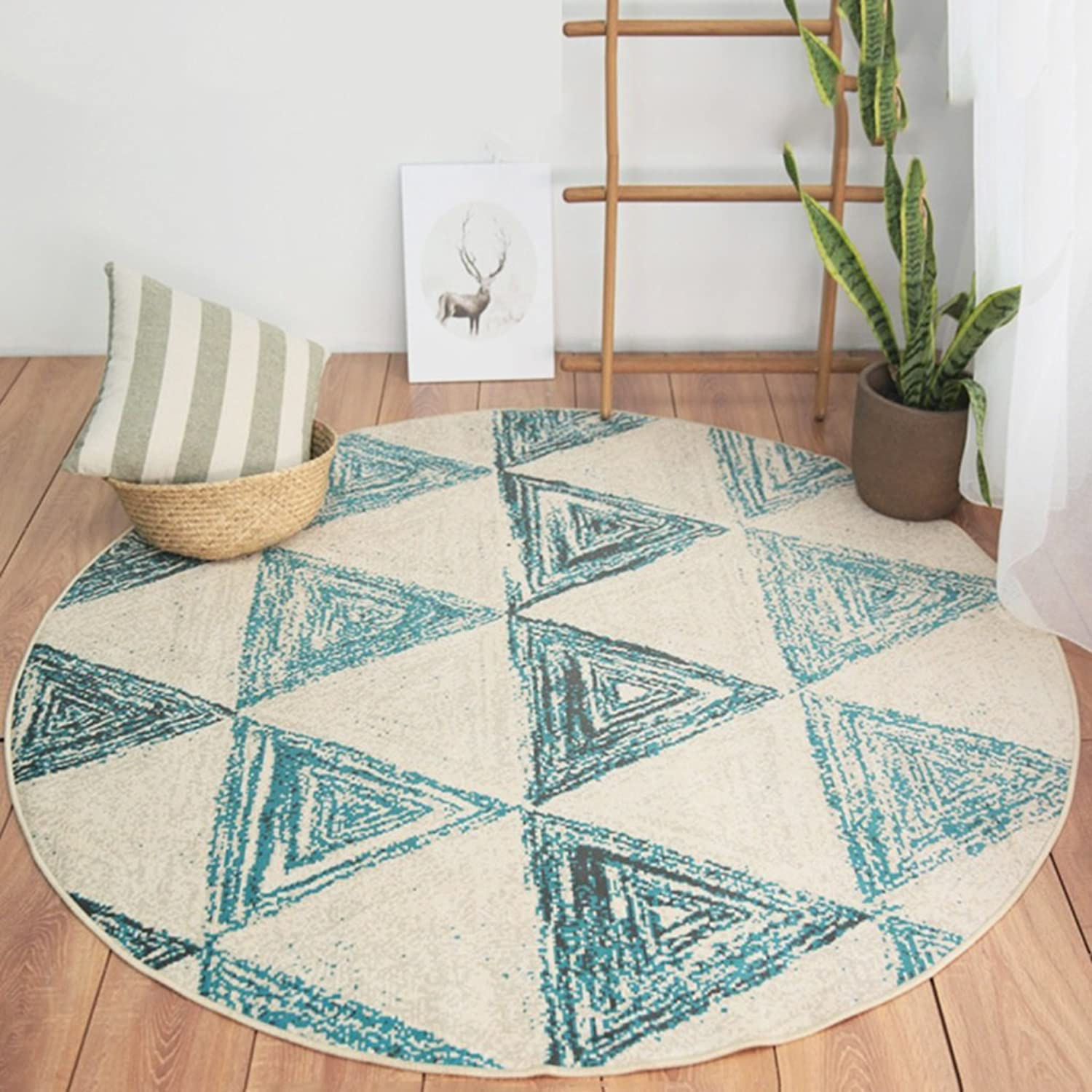 Rug Carpet Living Room Bedroom Coffee Table Sofa Room nightstand Home Rug Round Computer Chair Mat European and American Style (color   A, Size   120cm)