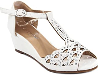 b1754b4f5e6f Blaze04 Kids Rhinestone Peep Toe Cut Out Ankle Strap Wedge Dress Sandal  Shoes