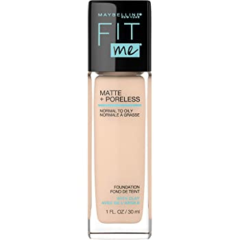 Maybelline Fit Me Matte + Poreless Liquid Foundation Makeup, Ivory, 1 fl. oz. Oil-Free Foundation