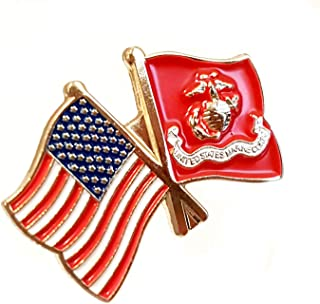 USA and USMC Flag Pin | for Hats, Lapels, Ties, Uniforms | Great Gift for Veterans, Military Men and Women | Patriotic American Flag, Marine Corps Eagle and Globe Emblem - Bulk Pack of 6