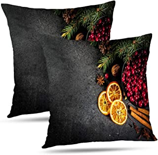 RADMAPLE Christmas Decor Fall Pillow Covers 18x18 Set of 2,Christmas Winter Cookies Seasonal Drinks Spices Black Stone Throw Pillow Cushion Covers Pillowcases for Sofa Fall Decor,Christmas Winter