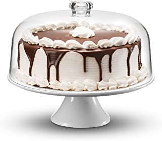 Godinger Cake Stand, Ceramic Footed Cake Plate Server with Shatterproof Acrylic Dome Lid