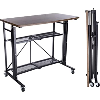 E-WIN スタンディングデスク 昇降式テーブル 手動 折りたたみ 天板サイズ幅91.5cm×奥行51㎝ オフィステーブル ダイニングテーブル 簡単 高さ調整 型番SD92-BK