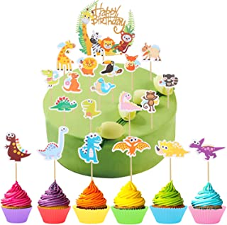 Ulikey 53 Piezas Animal Cake Toppers Decoraciones, Toppers Cupcake Animal Zoo, Jungle Theme Animal Cake Topper para Niños Cumpleaños (animal cupcake toppers)