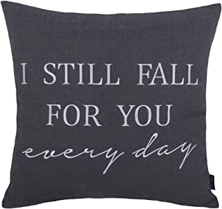 DecorHouzz Pillow cover Romantic Love Quote Embroidered Throw Pillowcase for Couple Valentine Anniversary Wedding Gift (18