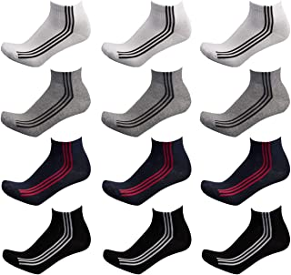 DOUBLE M, 12 Pares de Calcetines Deporte Hombre, Calcetines Tobilleros Cortos Hombre Mujer, Calcetines Algodón, Calcetines Cortos Media Caña Transpirables Suaves, Talla única 37 a 44