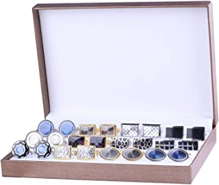 Cufflink 12 Pairs Two Tone Classy Stylish Men's Cuff Links Elegant Gift Box