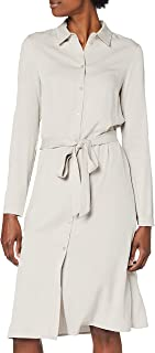 Vila Vidania Belt L/S Shirt Dress/Su-Noos Vestido para Mujer