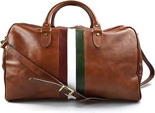 Borsone viaggio in pelle da uomo e donna borsa viaggio borsa sport bandiera Italiana borsa viaggio vera pelle miele