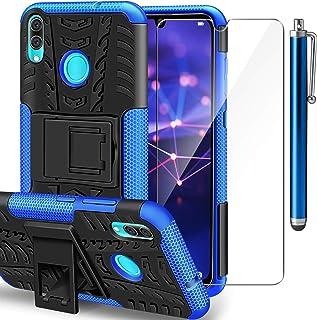AROYI Funda Huawei P Smart 2019 + Protector de Pantalla2 en 1 Duro PC Funda y Soft TPU Híbrida con Soporte Cáscara de Cubierta Protectora de Doble Capa Funda Caso para Huawei P Smart 2019 Azul