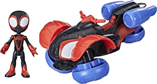 Marvel Spidey and His Amazing Friends Change 'N Go Techno Racer Vehicle And Miles Morales: Spider Man 4 inch Action Figur...