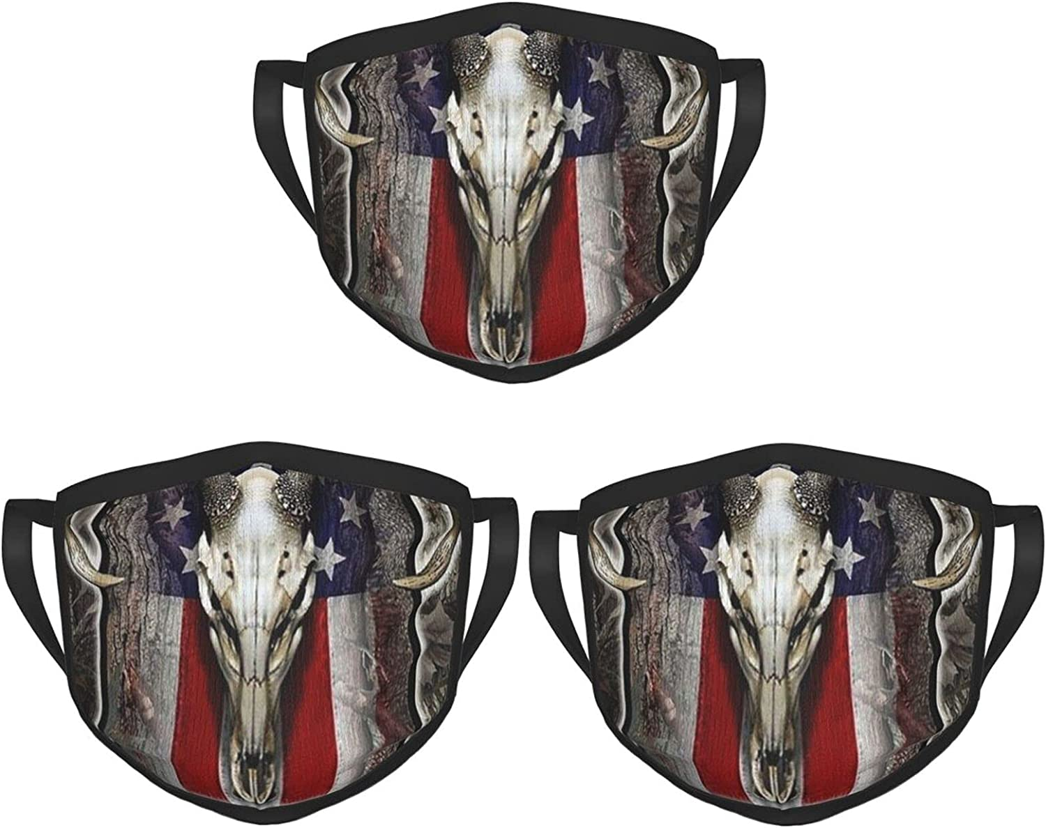 Balaclava Earmuffs American Usa Flag Wood Deer Skulls Hunting Face Mouth Cover Mask Reusable Washable Scarf Towel Cover Headwrap