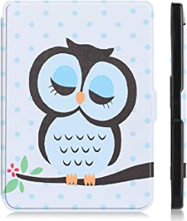 "for Kobo Clara HD 6"" Tablet Ultra Thin Slim Folio Sleep/Wake Up Leather Case Flip Smart Cover (Owl)"