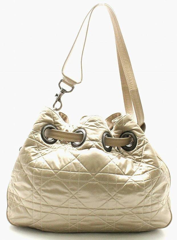 チートスチール敬意[クリスチャン ディオール] Christian Dior Dチャーム カナージュ トートバッグ ショルダーバッグ レザー ブロンズ ゴールド