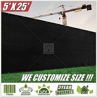 ColourTree 5' x 25' Black Fence Privacy Screen Windscreen Cover Fabric Shade Tarp Netting Mesh Cloth - Commercial Grade 170 GSM - Heavy Duty - 3 Years Warranty - Custom