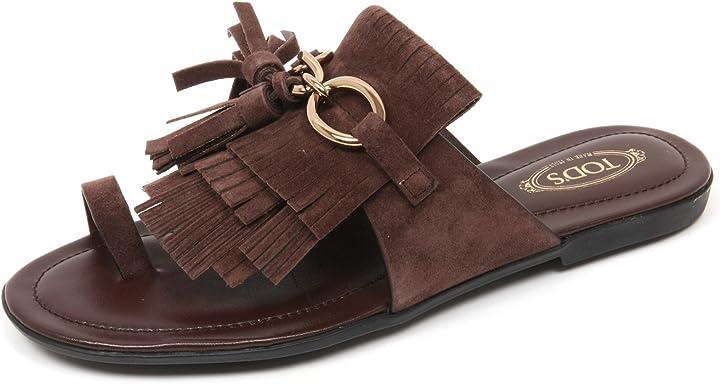 Tod`s c9098 infradito donna scarpa sandalo frangia marrone shoe woman B075XLFLK5