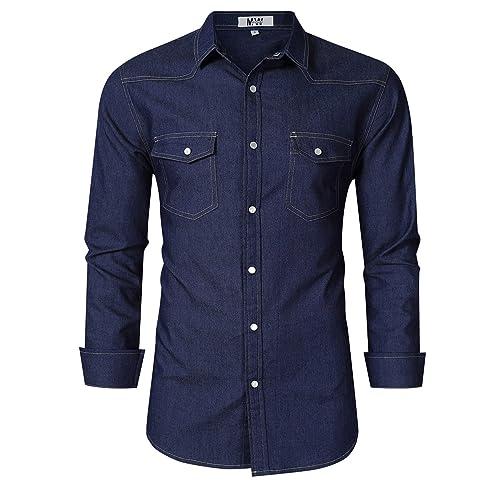 80623883de2 MrWonder Men s Casual Regular Fit Button Down Dress Shirt Cotton Long  Sleeve Solid Oxford Shirt