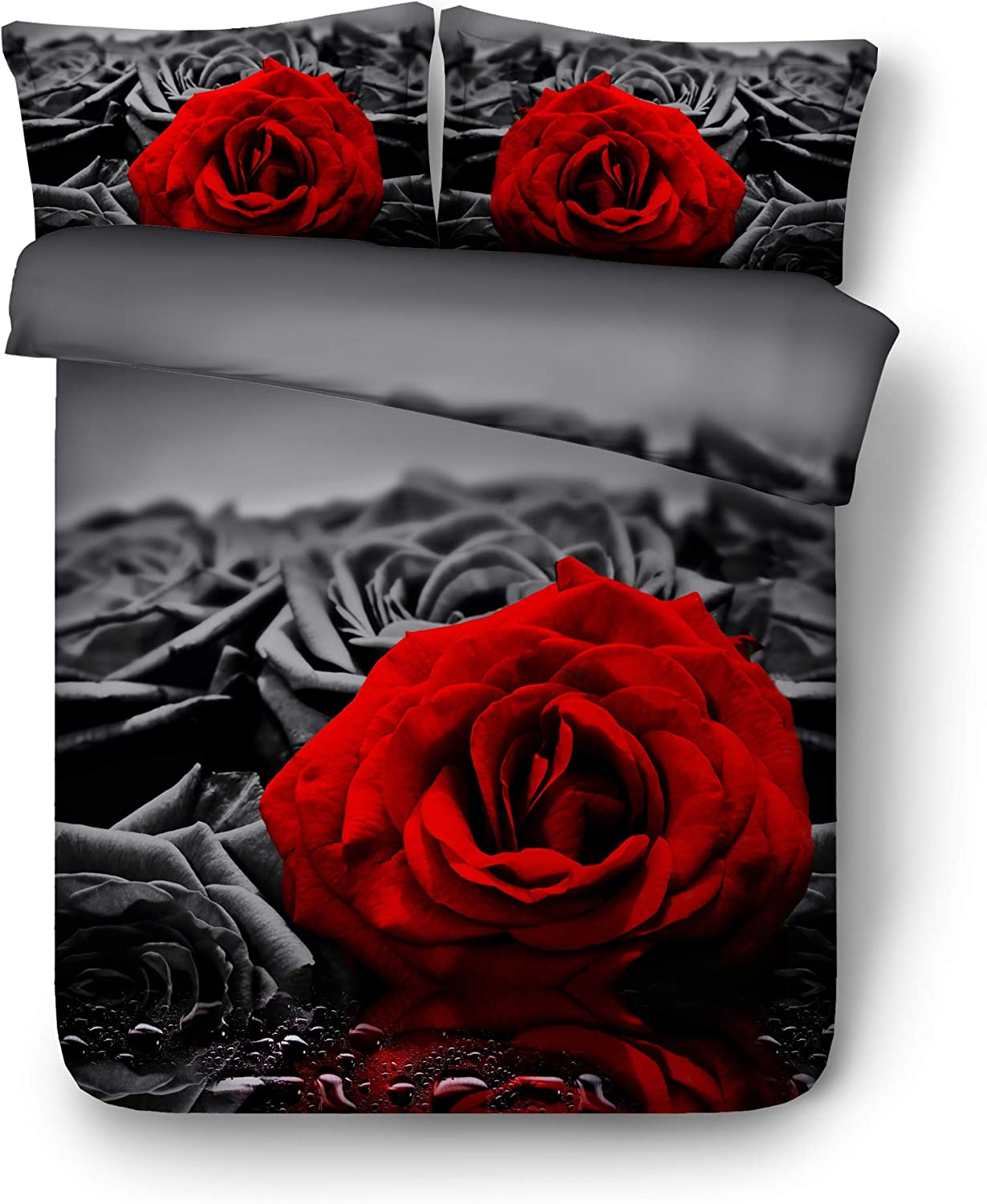 Newrara 3d Bedding Sets Red Rose 3d Digital Printed Grey 4pcs 100 Cotton Soft Bedding Set Duvet Cover Set Grey King Amazon Ca Home Kitchen