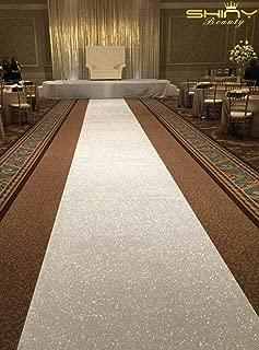 Aisle Runner for Wedding 4ftx15ft White Sequin Fabric Cloth Runner Wedding Sparkling White Carpet Runner for Party-M0920
