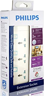 Philips 3 Way Heavy duty Indivisual Switch Socket - 2 Meter