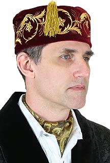 Men's Deluxe Velvet Embroidered Smoking Cap