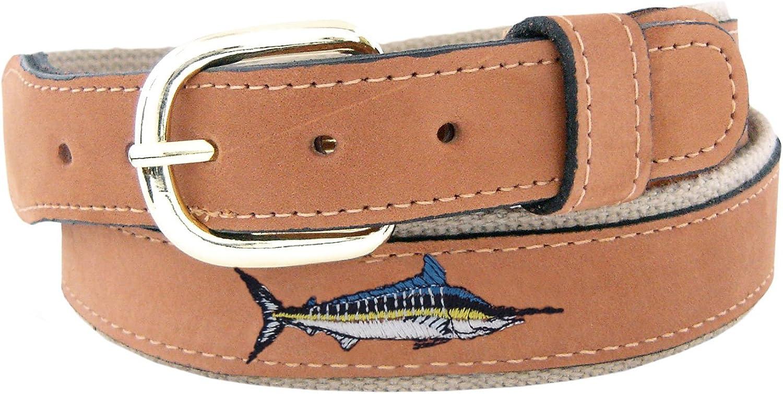 ZEP-PRO Men's Tan Leather Embroidered Marlin Belt