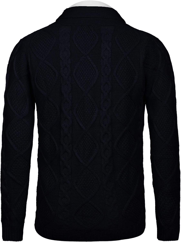 JINIDU Men's Shawl Collar Cardigan Sweater Slim Fit Casual Button Down Cardigan Knitted Jacket