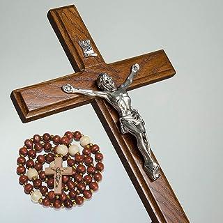 Handmade Crucifix Wall Cross for Home Decor – Wooden Catholic Wall Crucifix – 12 Inch