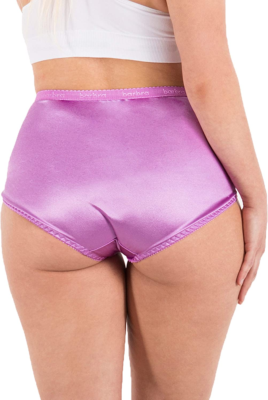 Barbra Lingerie Satin Panties S to Plus Size Womens Underwear Full Coverage Brief 6 Pack