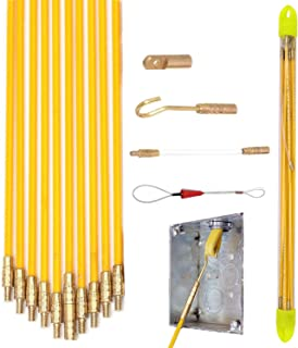 33' Wire Noodler Fiberglass Cable Wire Running Rod Coaxial Electrical Connectable Fish Tape Pull Kit With Hook And Hole Kit In Transparent Tube, Yellow