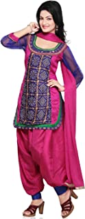 Utsav Fashion Women's Fuschia Dupion Silk And Faux Crepe Patiala With Kameez