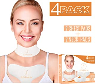 JUVENILIA 4 pack anti-wrinkle chest pads for neck and chest – chest wrinkle prevention – correct and reduce wrinkles – washable and reusable 2 chest pads and 2 neck pads - overnight wrinkle treatment