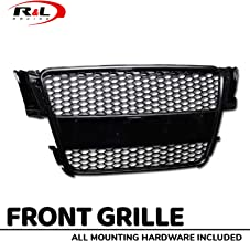 R&L Racing Front Grill Compatible with Audi A5 8T 08-10 | Black R Sport Honeycomb Mesh Bumper Grille with Emblem Base ABS