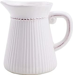 D'vine Dev 6 Inches White Ceramic Decorative Pitcher French Small White Pitcher Vase Decorative Pitcher Flower Vase for Bouquet - Perfect Pitcher for Home Décorative