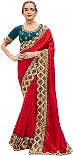 red Plain body designer Border fancy Silk Saree Indian Woman Blouse party festival Sari 6563