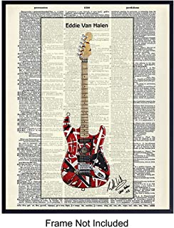 Eddie Van Halen Guitar - Wall Art Print on Dictionary Photo - Ready to Frame (8x10) Vintage Photo - Great Gift for 80s Music and Rock n Roll Fans - Cool Steampunk Home Decor
