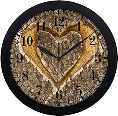 INTERESTPRINT Gold Love Heart Easy to Read for Home Office School Wall Clock