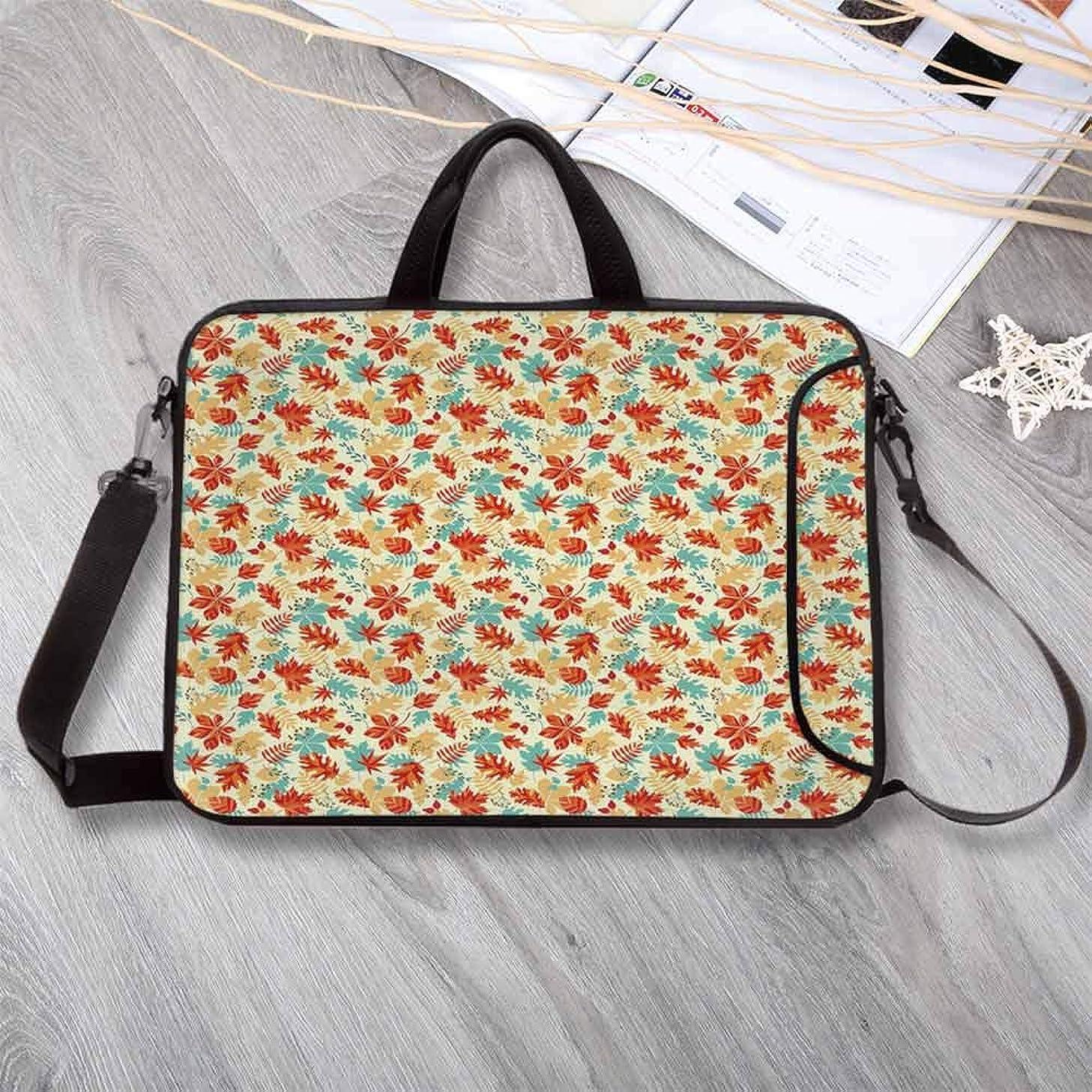 "Leaf Custom Neoprene Laptop Bag,Autumn Spring Time Vivid Flowers Berries Buds Abstract Laptop Bag for Men Women Students,14.6""L x 10.6""W x 0.8""H"