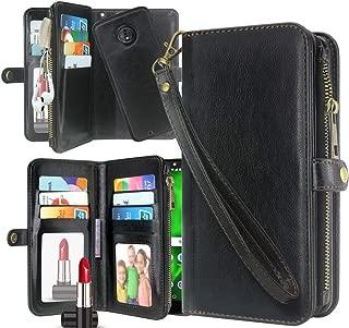 Moto G6 Case,Harryshell Detachable PU Leather 11 Card Slots Mirror Zipper Wallet Flip Protective Case Cover Wrist Strap for Motorola Moto G 6th Gen (2018) (Black)