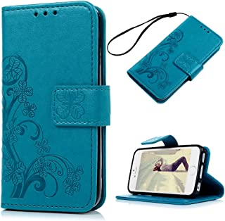 iPhone SE Case, iPhone 5S Wallet Case, iPhone 5 Case for Women,Mavis's Diary Elegant Blue Wallet Flip Case Embossed Clover PU Leather with Card Holders Wrist Strap [ Stand Feature ] for iPhone SE/5S/5