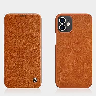 "Nillkin Case for Apple iPhone 12 Mini (5.4"" Inch) Qin Genuine Classic Leather Flip Folio + Card Slot Brown Color"