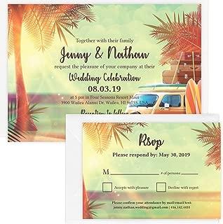 Custom - Vintage Beach Wedding Invitation Set - Set of 25, Personalized Wedding Invitation, Hawaiian Wedding, Vintage Beach Theme (Invitation + RSVP + Envelope)
